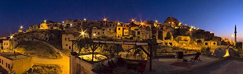 Kugelpanorama Nightview von der Terasse der Suite Sirahane - Höhlenhotel ASMALI CAVE HOUSE, Kappadokien-Türkei