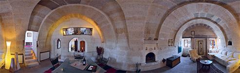 Kugelpanorama Wohnzimmer Suite Asmali Odalar, Höhlen Hotel Asmali Cave House in Kappadokien, Türkei