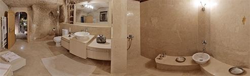 Kugelpanorama Badezimmer der Höhlen Suite Kaya Odalar - Höhlen Hotel Asmali Cave House in Kappadokien, Türkei