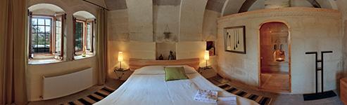 Kugelpanorama Schlafzimmer der Suite Kaya Odalar - Höhlenhotel ASMALI CAVE HOUSE, Kappadokien-Türkei
