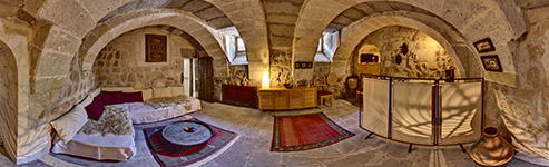 360 Grad Kugelpanorama - Höhlenhotel ASMALI CAVE HOUSE in Kappadokien, Türkei