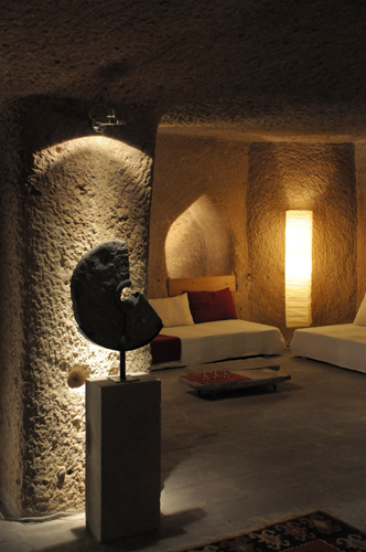 Asmali Cave House in Cappadocia, Cave Hotel right at the entrance famous Pigeon Valley in Uchisar