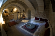 Fisheye Photo: Livingroom of Suite Şırahane ASMALI CAVE HOUSE Small Cave Hotel in Cappadocia, Turkey